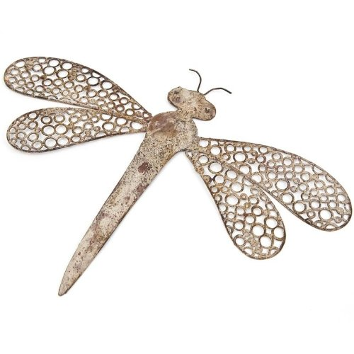 METAL DRAGONFLY HANGING WALL ART DECORATIVE GARDEN RUSTIC SHABBY CHIC