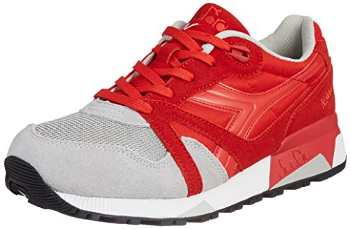 Diadora N9000 NYL Mens Red Gray Suede/Synthetic Lace Up Sneakers Shoes 8