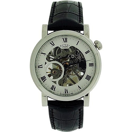 rotary mens watches uk watches store part 6 rotary gents mechanical skeleton dial black leather croc strap watch gs02841 21