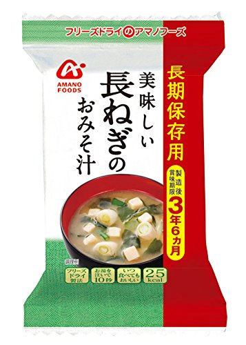 アマノフーズ 長期保存用 長ねぎの味噌汁7g 6袋 (フリーズドライ 味噌汁 保存食・非常食に)