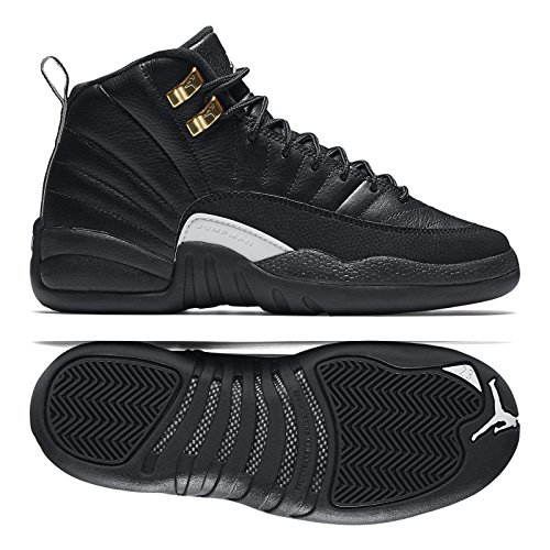 Jordan-Kids-Air-12-Retro-BG-BLACKWHITE-BLACK-MTLLC-GOLD