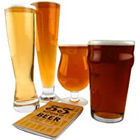 Classic Beer Glass Connoisseur Collection - 4 Glass Set & Tasting Book by KegWorks