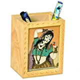Little India Gemstone Painted Handcrafted Wooden Pen Stand (12.7 Cm X 7.62 Cm)