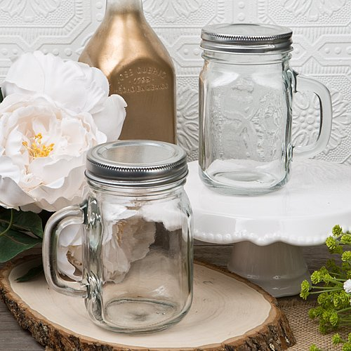 12 Ounce Perfectly Plain Glass Mason Jar with Handle from Fashioncraft (12 Ounce Tall Canning Jars compare prices)
