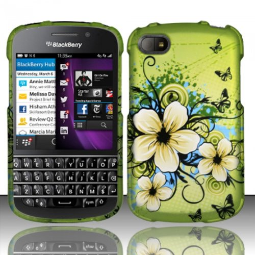 For Blackberry Q10 (At&T/Sprint/T-Mobile/Verizon) Rubberized Design Cover - Hawaiian Flowers