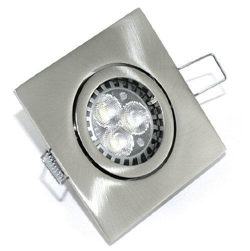 3er Set LED Einbaustrahler Max-Square Farbe Edelstahl gebürstet GU10 3er Power LED 5W Weiß 230V
