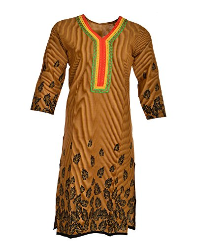 Global Women's Cotton Straight Kurta (GW74Brown40015, Brown, 40)