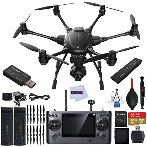 YUNEEC Typhoon H RTF Hexacopter with GCO3+ 4K Camera Bundle includes YUNEEC Simulator + YUNEEC Wizard Wand + Extra Yuneec 5400mAh Battery + Sandisk 64GB Extreme MicroSD + High Speed Card Reader More!