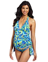 Hot Sale Maternal America Women's Maternity Classic Two Piece Tankini, Blue Paisley, Small