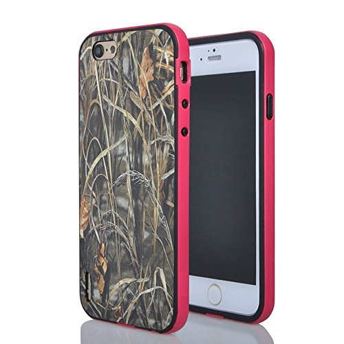 Tech Express Tm Flexible TPU Grass Tree Camo Camouflage 2 Piece Snap On Real Design Cover Case for Apple iPhone 6 6g 47 Pink Grass Mossy Oak