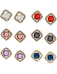YouBella L'amore Collection Crystal Jewellery Combo Of Stud Earrings For Girls And Women