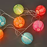 Set of 10 Floral Indoor/Outdoor Mini Oriental Style Nylon Lantern Plug-in String Lights - Expandable to 150 Lights