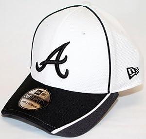 Atlanta Braves New Era MLB 39THIRTY Pipe Slide Fitted Hat - White Gray by New Era