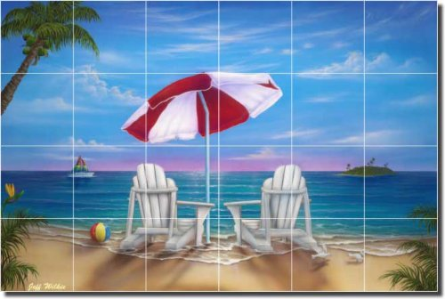 Exotic Vacation by Jeff Wilkie - Tropical Seascape Ceramic Tile Mural 17
