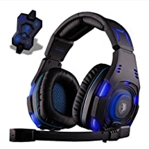 Sades Stereo 7.1 Surround Professional Headset Pro Games Headphones with Blue LED
