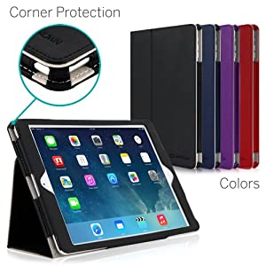 [CORNER PROTECTION] CaseCrown Bold Standby Pro Case (Black) for Apple iPad Air with Sleep / Wake, Hand Grip, Corner Protection, & Multi-Angle Viewing Stand