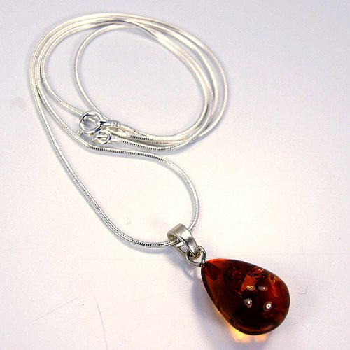 The Silver Plaza Sterling Silver Natural Amber Necklace Pendant and Chain