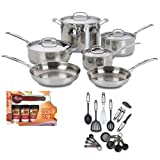 Cuisinart 7710 Chefs Classic Stainless 10-piece Cookware Set With Kamenstein Mini Measuring Spoons Spice Set And...