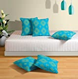 Swayam Drape and Dream Cotton 5 Piece Cushion Cover Set - Turquoise (12x12 inch)