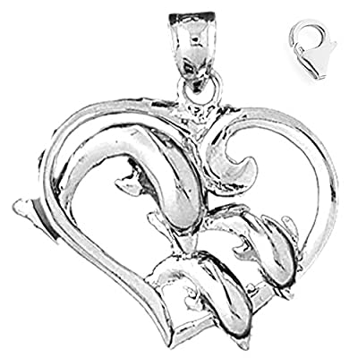 Charm Obsession's 14K White Gold 32mm Dolphins Jumping Through Heart Hoop Charm w/ Lobster Clasp