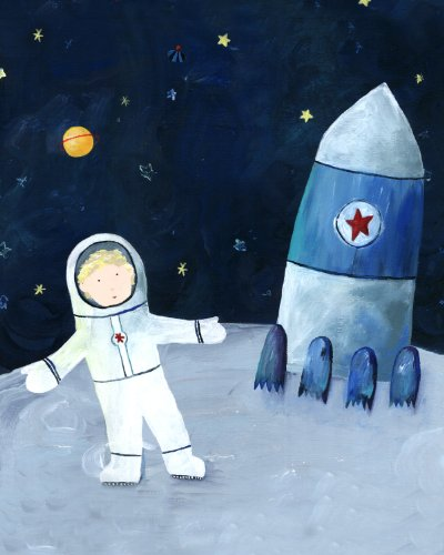 Cici Art Factory Wall Art, Man on the Moon Paper Print, Small