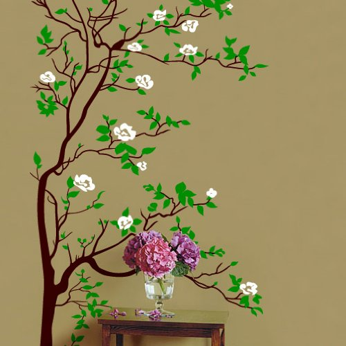 Vinyl Wall Art Decal Sticker Asian Tree Leaves Blossom Big 6ft Tall #318
