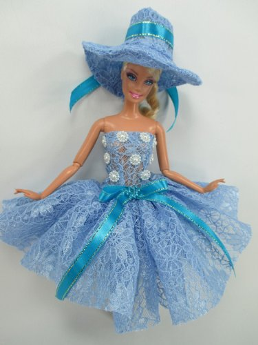 [Handmade Outfit Clothes Costume Dress and Hat Fairytopia Ballerina Fairy Angel for Barbie Doll] (Fairytopia Barbie Costume)