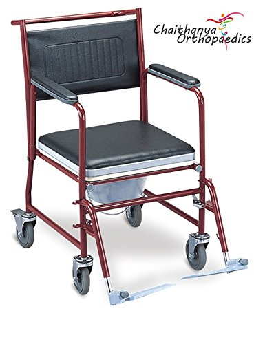 Chaithanya Orthopaedics FC Imported Steel Commode Wheel Chair + Walking Stick