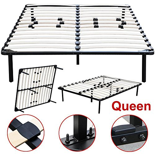 Topeakmart Twin Full Queen King Size Platform Metal Bed Frame Bedroom Wood Slats Mattress Foundation Base without Headboards (Queen)
