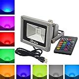RUICAIKUN 10W 防水仕様IP65 投光機 LEDフラッドライト プラグとリモコン付き、 16色 マルチカラーRGB