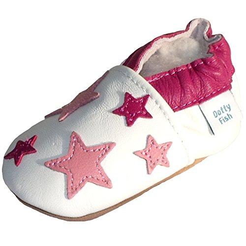 Scarpe bimbo in morbida pelle scamosciata - Stelle bianche e rosa - Dotty Fish - ragazza 12-18 mesi