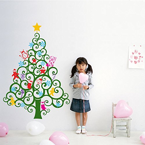 "PopDecors Wall Decals & Stickers - Happy Christmas Tree Wall Decal (59""H) -Holiday Sticker Kids Love Christmas Ornaments Candy Cranes Wall Decors PT-0219"