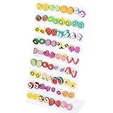 36 Pairs Polymer Clay Fruits Earrings Studs Women Girl Cute Ear Nail Gift