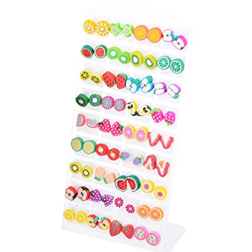 36 Pairs Polymer Clay Fruits Earrings Studs Women