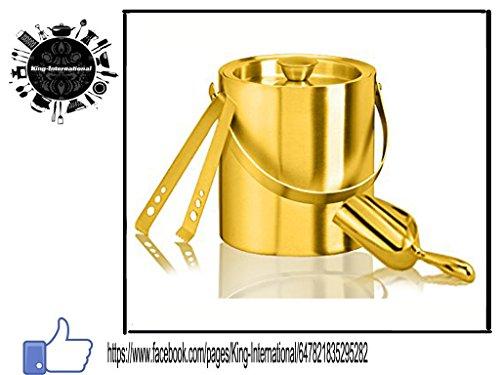 King International de-acier inoxydable-doré Bar Lot de 3Pièces (Seau à Glace/Ice Picker/Pince à Glaçons)