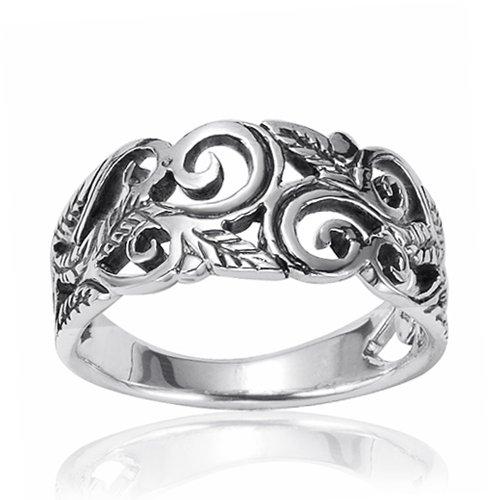 925 Oxidized Sterling Silver 8mm Filigree Leaves Swirl Vine Wreath ...
