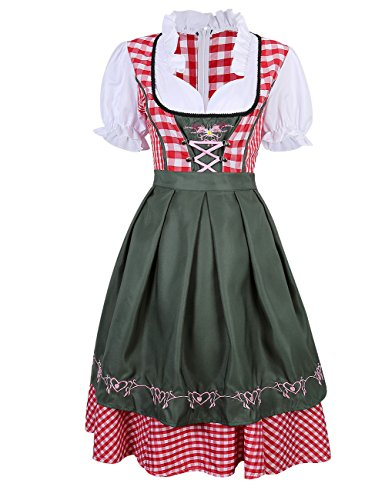 BellyLady Women's German Mini Dirndl Oktoberfest Fancy Dress Ladies Costume Red S (Fancy Dress Costume)