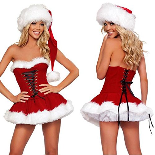 Kinghard Sexy Santa Costume , Mrs Christmas Party Fancy Two Parts Dress Cosplay Suit (Naughty Santa Helper Outfits)