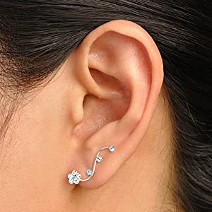 925 Sterling Silver Sparkling White, Aquamarine Blue Swarovski Crystal Flower Vine Cuff Earrings