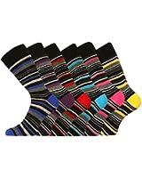 Pierre Calvini Lot de 6 paires de chaussettes rayées riches en coton Homme