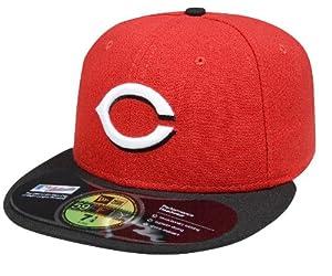 MLB Cincinnati Reds Authentic On Field Road 59FIFTY Cap , Red/Black Bill, 7 1/4