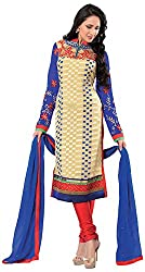Renisha Fashion Women's Brasso Unstitched Salwar Suit (Blue)