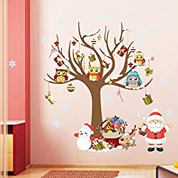 Think-plus Merry Christmas Santa Claus Owls Christmas Tree Gifts Wall Stickers,Snowflake Bell Wall Stickers Removable Wall Stickers DIY Home Decorations Decor (Christmas)