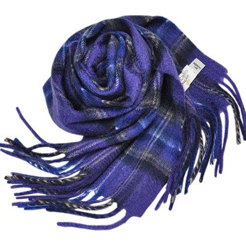 英国王室御用達 Lochcarron of scotland ロキャロン英国スコットランド製 タータンチェック柄 カシミヤ100% フリンジマフラー メランジカラー(ダイヤモンドジュビリーホリルード)