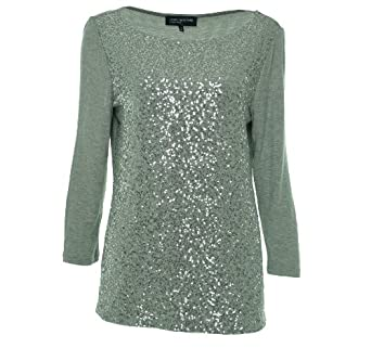 Sequined gray long-sleeve top