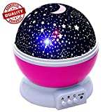 Petcaree Constellation Night Light, Romantic Room Rotating Star Projector Lamp, 4 Bright Colors with 360 Degree Moon Star Projection and Rotation, Moon Sky Night Projector, Baby Nursery Light, Pink