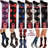 MarcolianiMen's Italian Cashmere and Silk Over-the-Calf Fancy Argyle Socks RARE - One Pair Navy