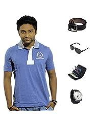 Garushi Blue T-Shirt With Watch Belt Sunglasses Cardholder - B00YMLQR9G