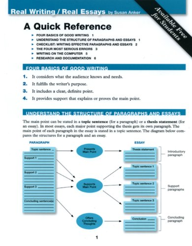 Quick Reference Card for Real Writing and  Real Essays