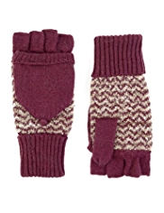 M&S Collection Knitted Bouclé Fingerless Gloves with Angora